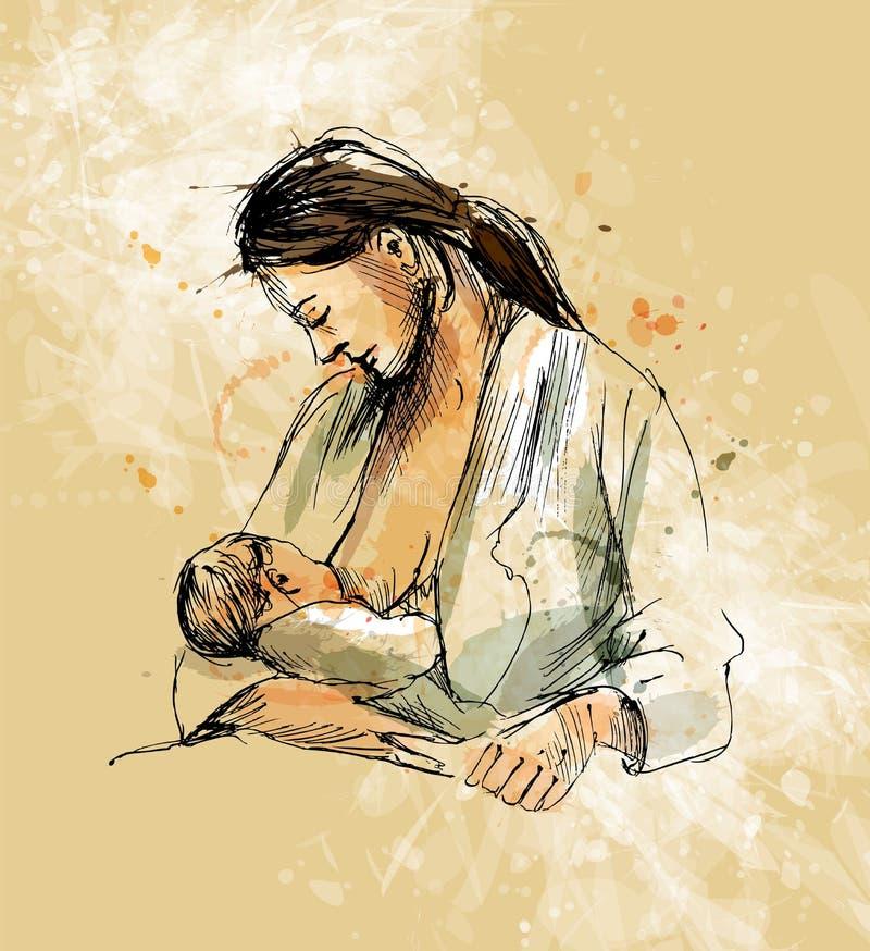 Bébé coloré de soins de mère de croquis de main sur un fond grunge illustration libre de droits
