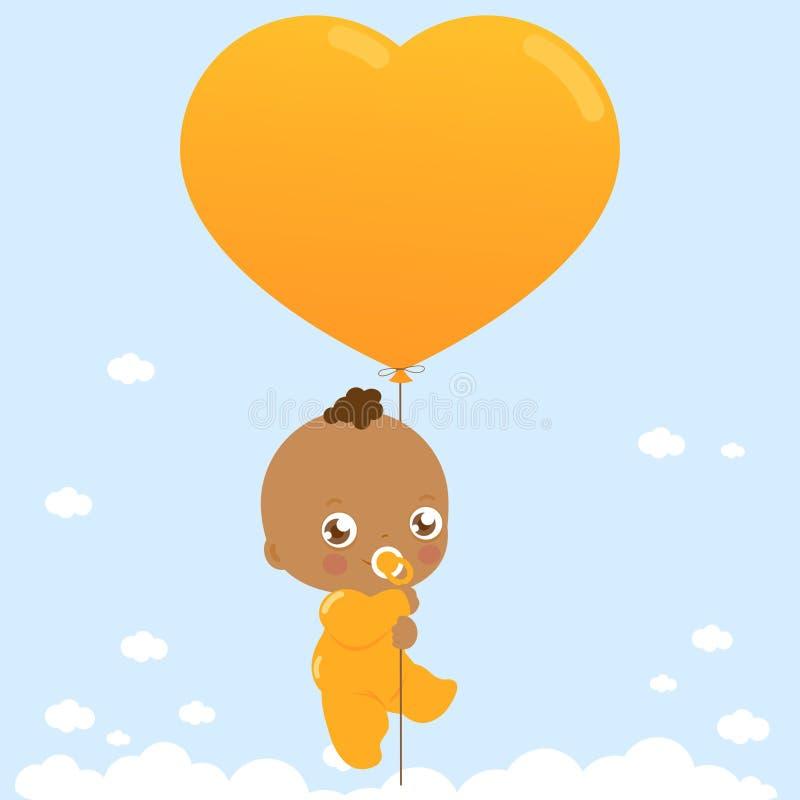 Bébé d'afro-américain tenant le ballon illustration libre de droits