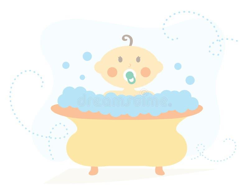 Bébé dans la baignoire illustration stock