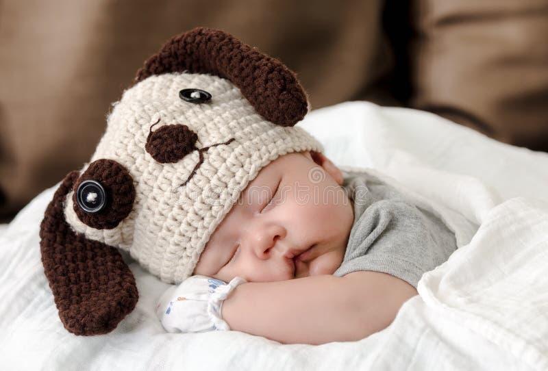 Bébé dans le costume de chien dormant sur le lit photographie stock libre de droits
