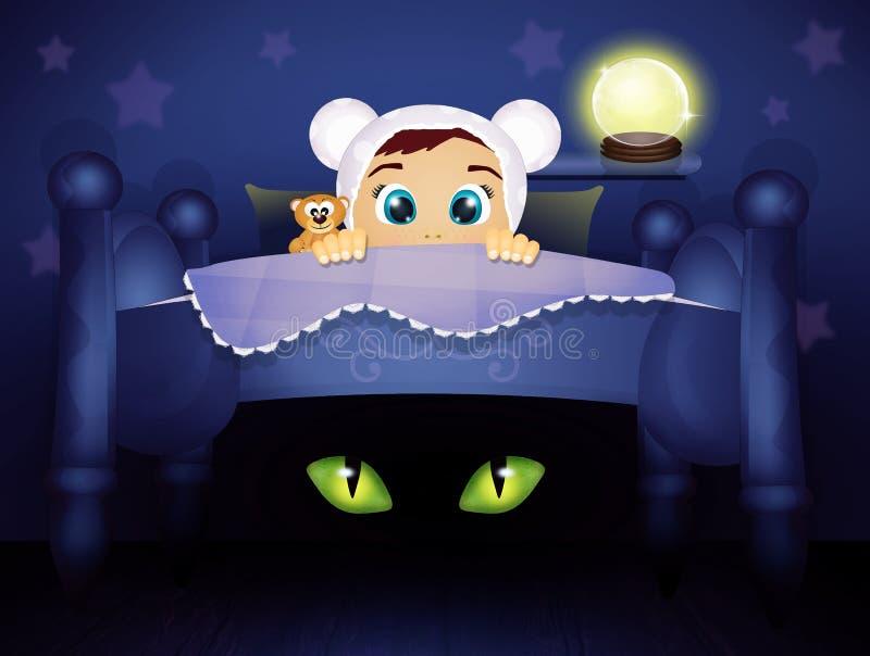 Bébé dans le lit la nuit de Halloween illustration stock