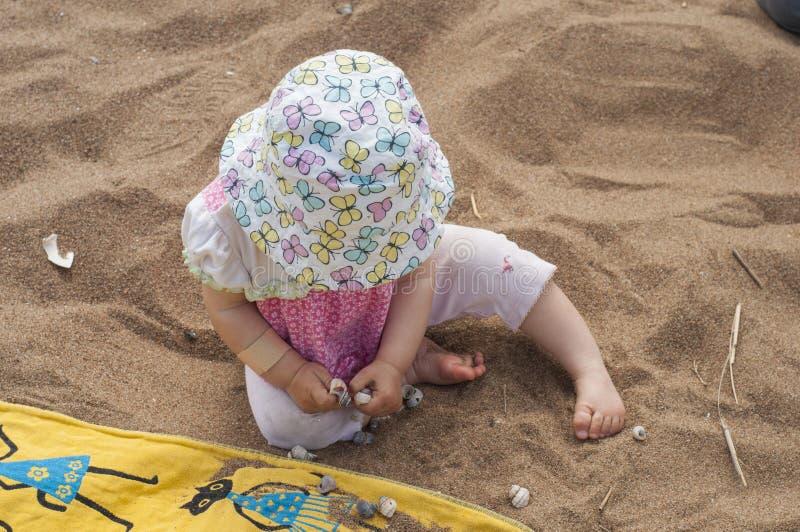 Bébé dans un chapeau de Panama rose de chemise et de papillon étudiant des coquillages Peu fille jouant sur une plage sablonneuse photographie stock libre de droits