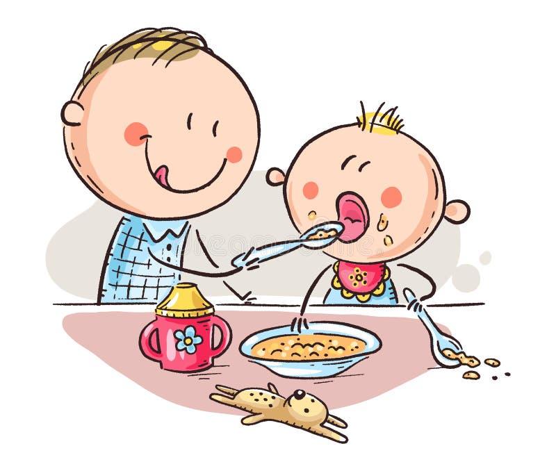 Bébé de alimentation de père, illustration colorée de vecteur de bande dessinée illustration libre de droits