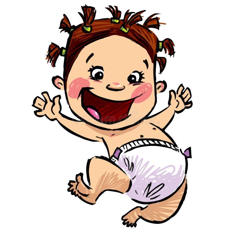 Bébé de bande dessinée avec des couches-culottes et des cheveux drôles sautant haut illustration libre de droits