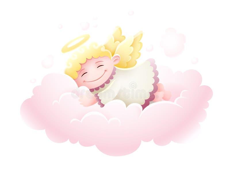 Bébé de cupidon d'ange dormant au nuage illustration de vecteur