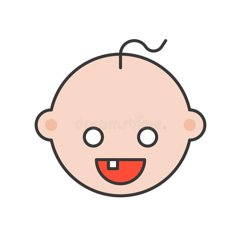 Bébé de dents ou dent de lait cassé, icône relative dentaire, complétée illustration libre de droits