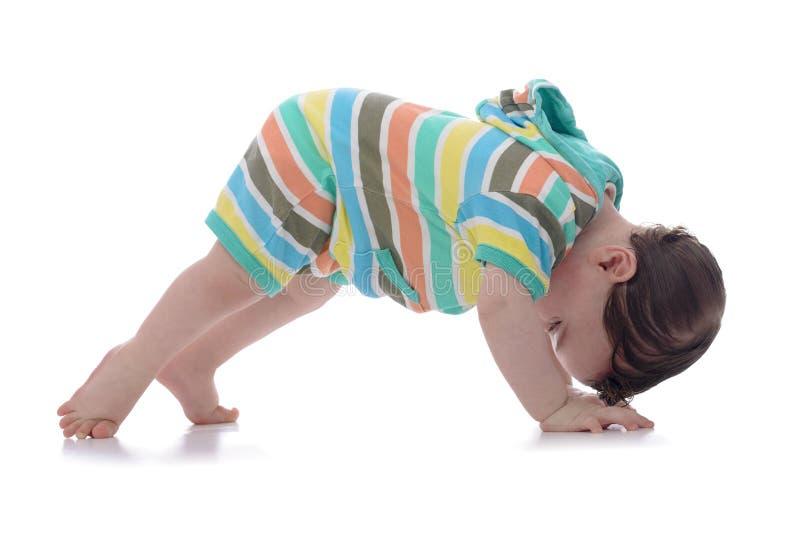 Bébé de rampement regardant vers l'arrière photo libre de droits