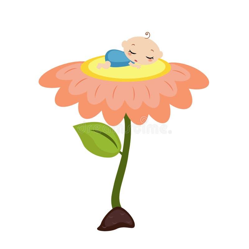 Bébé dormant sur la fleur illustration libre de droits