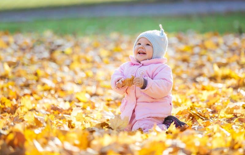 Bébé doux jouant avec des feuilles et riant en parc image stock