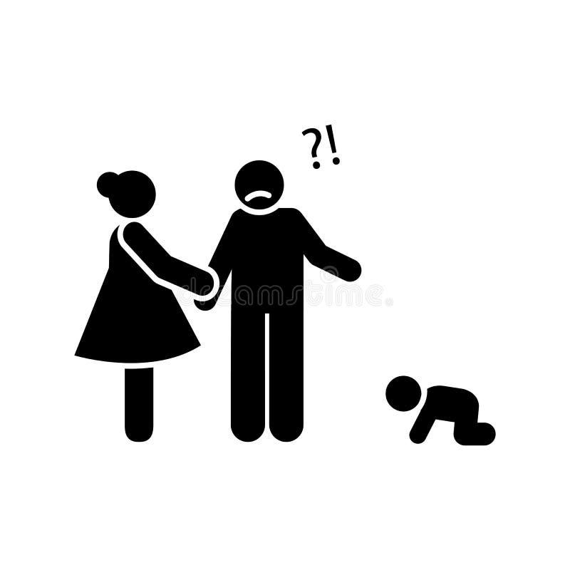 Bébé, enfant, père, pleurant, icône de mère ?l?ment d'ic?ne de parent Ic?ne de la meilleure qualit? de conception graphique de qu illustration libre de droits
