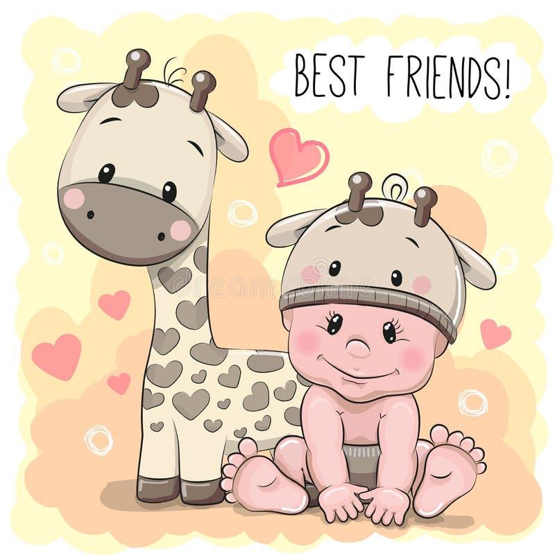 Bébé et girafe mignons de bande dessinée illustration libre de droits