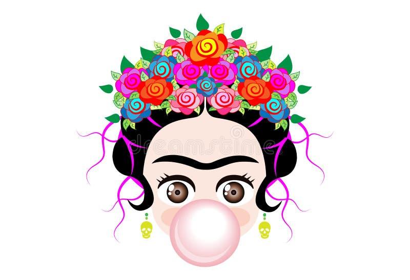 Bébé Frida Kahlo d'Emoji à cray avec la couronne et des fleurs colorées, bébé avec la bulle de gomme, vecteur d'isolement illustration de vecteur