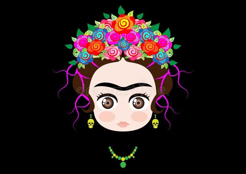 Bébé Frida Kahlo d'Emoji avec la couronne des fleurs colorées, d'isolement sur le noir illustration stock