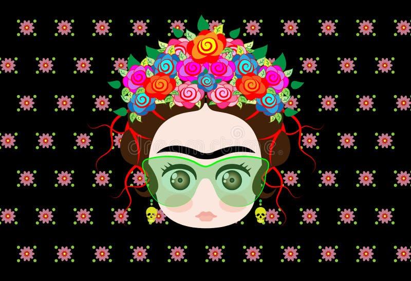 Bébé Frida Kahlo d'Emoji avec la couronne des fleurs et des verres colorés illustration libre de droits