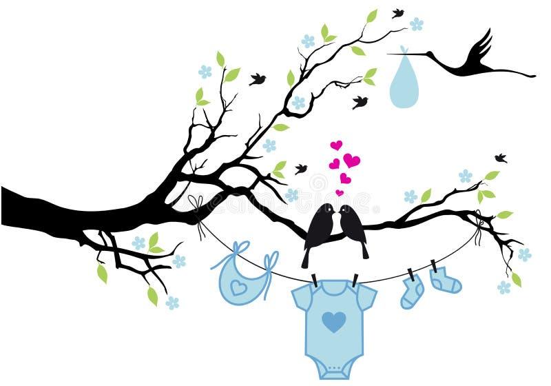 Bébé garçon avec des oiseaux sur l'arbre, vecteur illustration stock