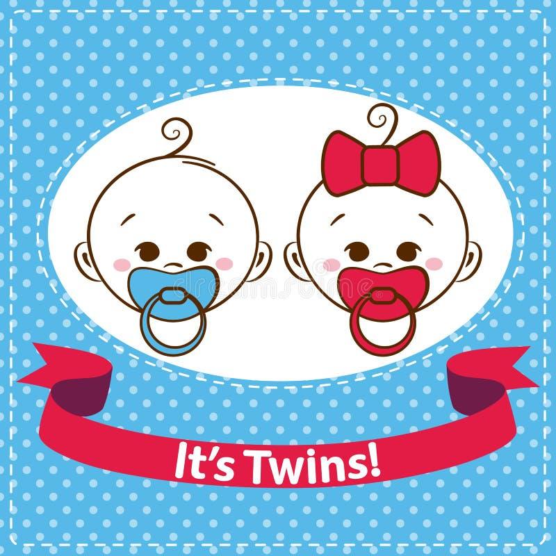 Bébé garçon et fille, icônes de jumeaux d'isolement sur le fond blanc illustration de vecteur