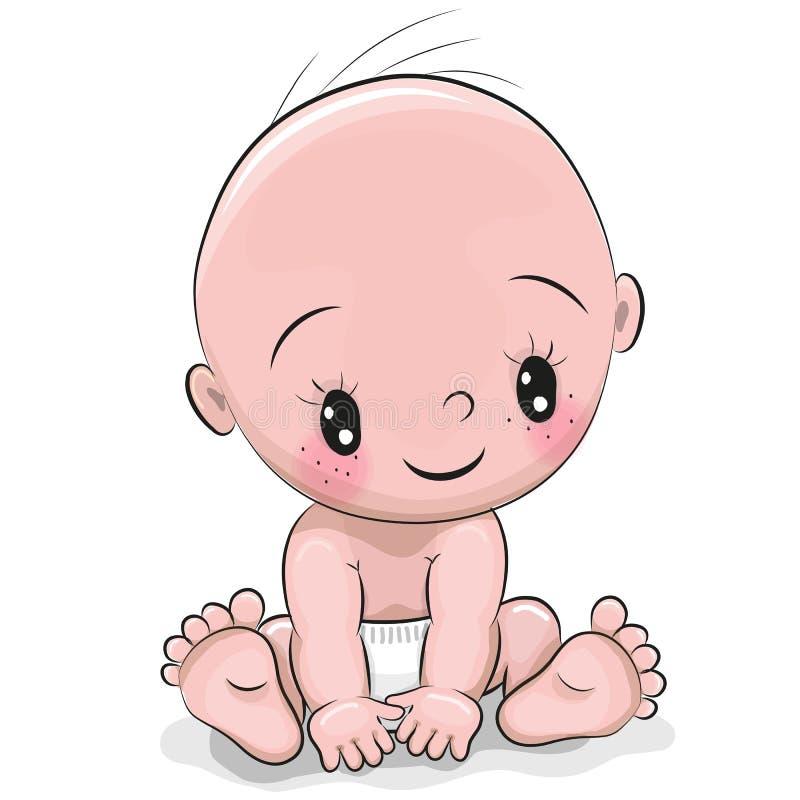 Bébé garçon mignon de bande dessinée illustration libre de droits