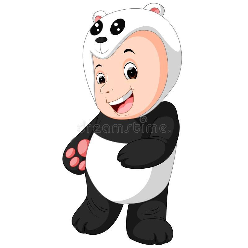 Bébé garçon mignon portant un costume d'ours panda illustration libre de droits