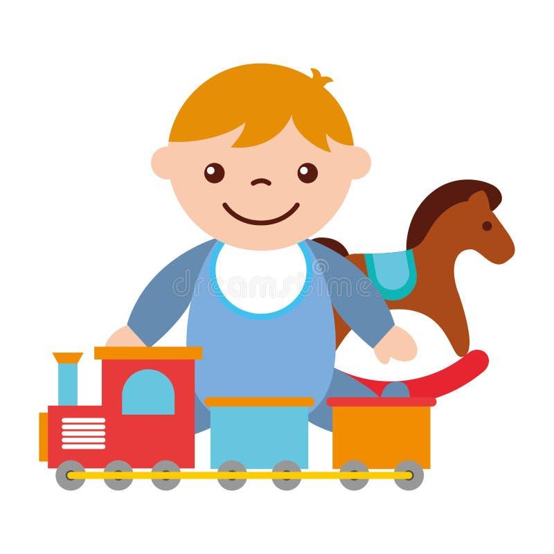 B?b? gar?on mignon s'asseyant avec le jouet de train de cheval de basculage illustration libre de droits