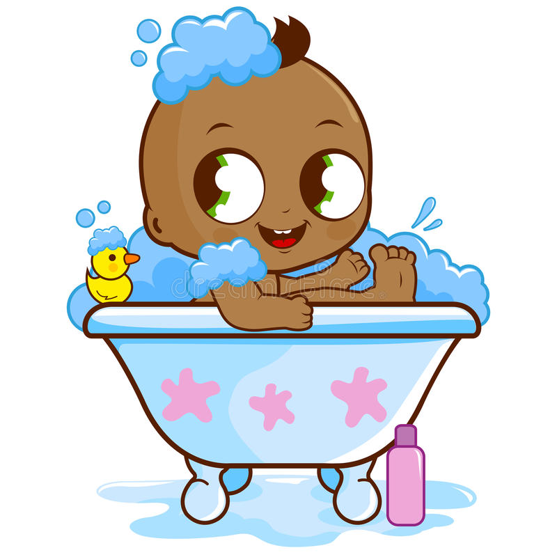Bébé garçon prenant un bain illustration stock