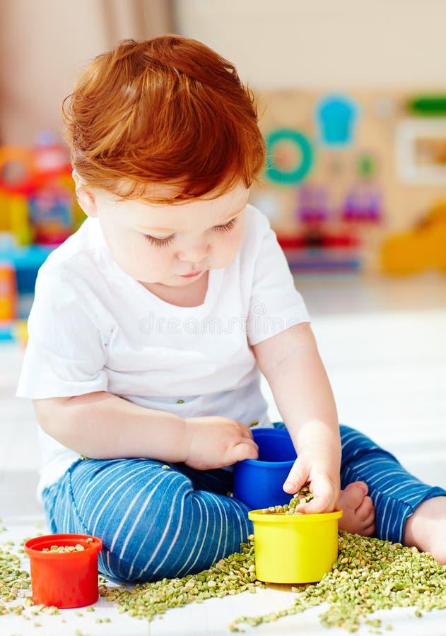 Bébé garçon roux mignon développant ses qualifications fines de motilité en jouant avec les pois à la maison images stock