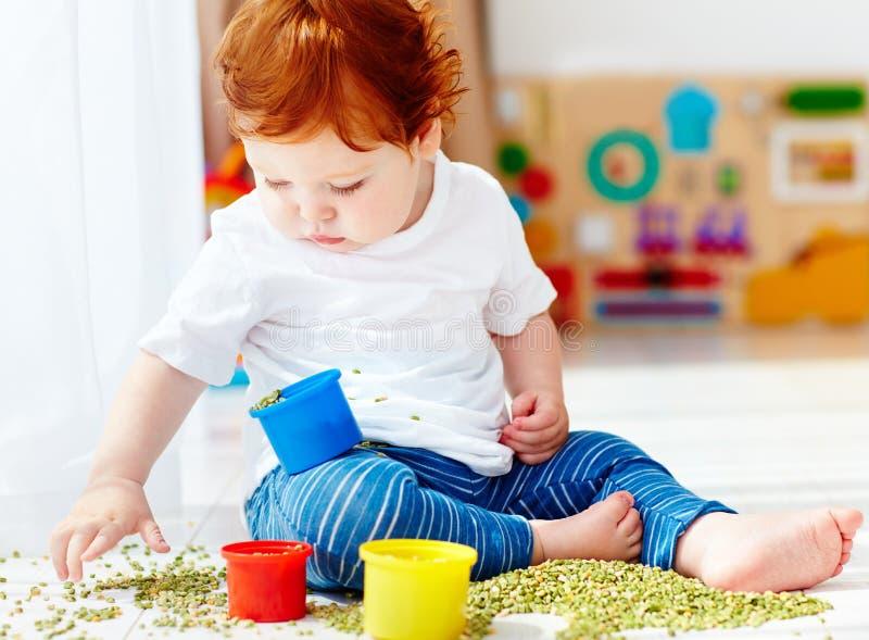 Bébé garçon roux mignon développant ses qualifications fines de motilité en jouant avec les pois à la maison images libres de droits