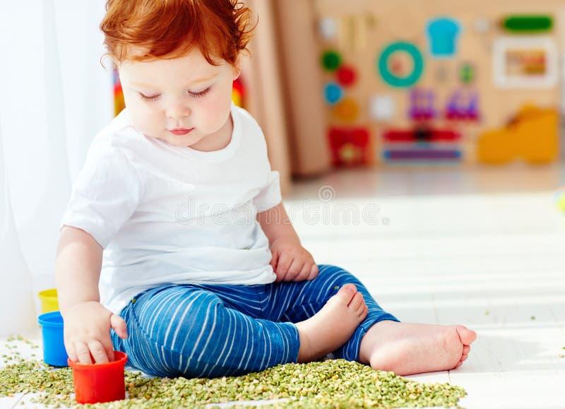 Bébé garçon roux mignon développant ses qualifications fines de motilité en jouant avec les pois à la maison photo stock