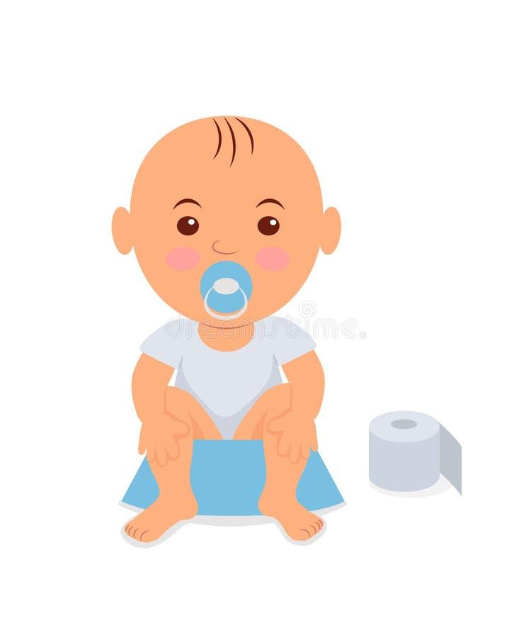Bébé garçon s'asseyant sur le pot Étude pour faire pipi illustration stock