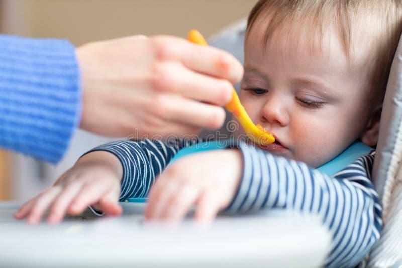 Bébé garçon tatillon dans la chaise d'arbitre refusant la nourriture au temps de repas photo libre de droits