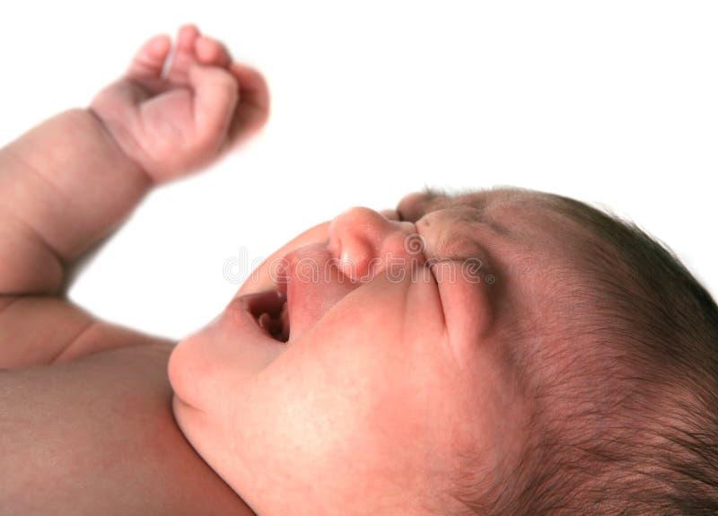 Bébé infantile criant vers le haut image libre de droits