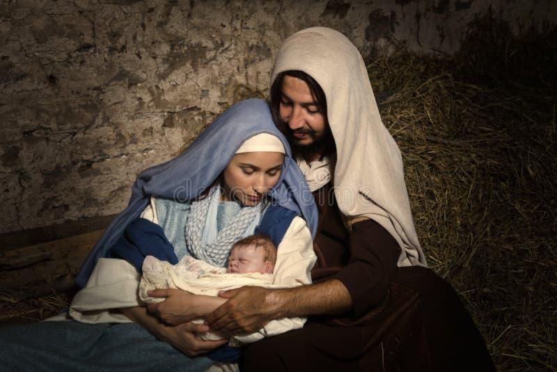 Bébé Jésus dans la scène de nativité photos libres de droits