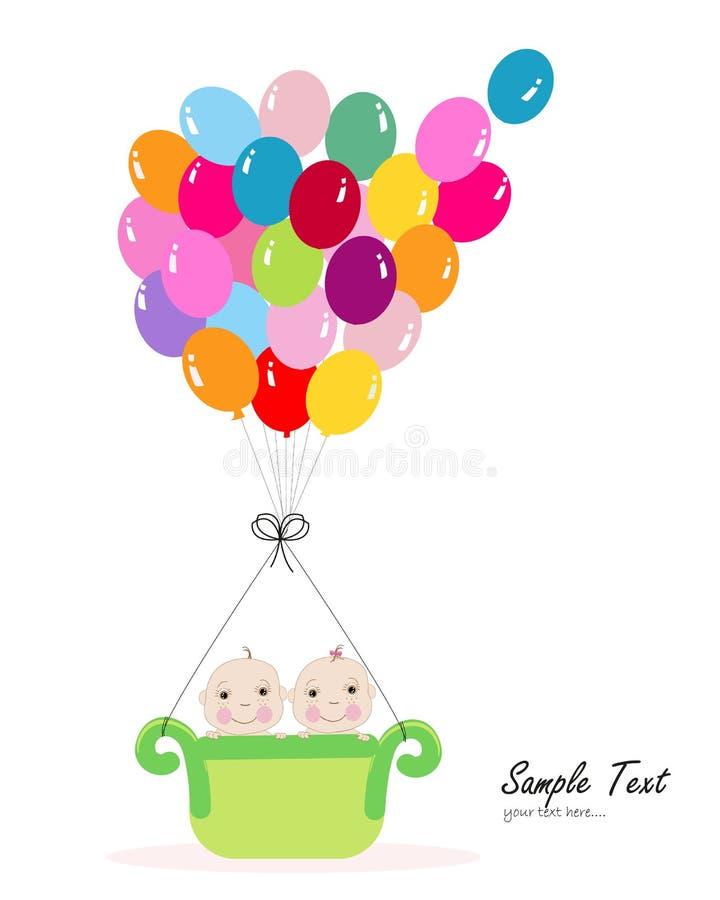 Bébé jumeau avec la carte de voeux colorée de fête de naissance de ballon illustration libre de droits