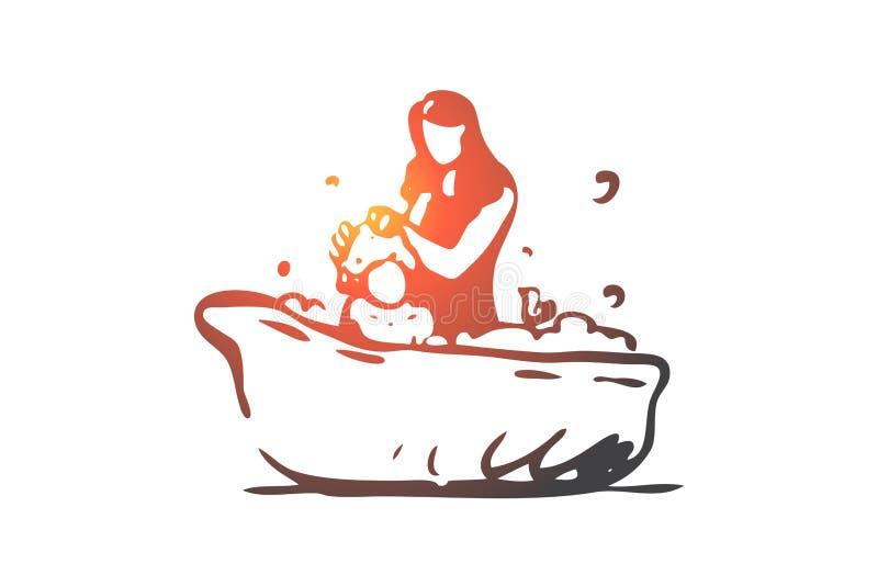 Bébé, mère, bain, shampooing, concept de savon Vecteur d'isolement tiré par la main illustration libre de droits