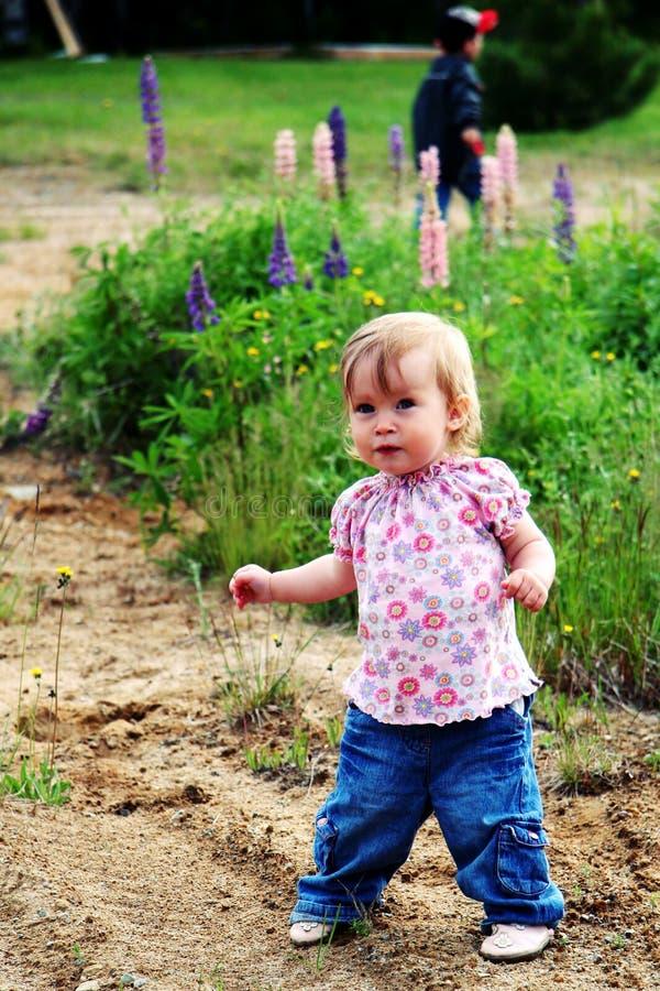 Bébé marchant à l'extérieur images libres de droits