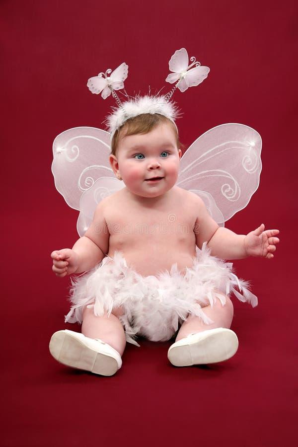 Bébé mignon avec le costume de papillon photographie stock