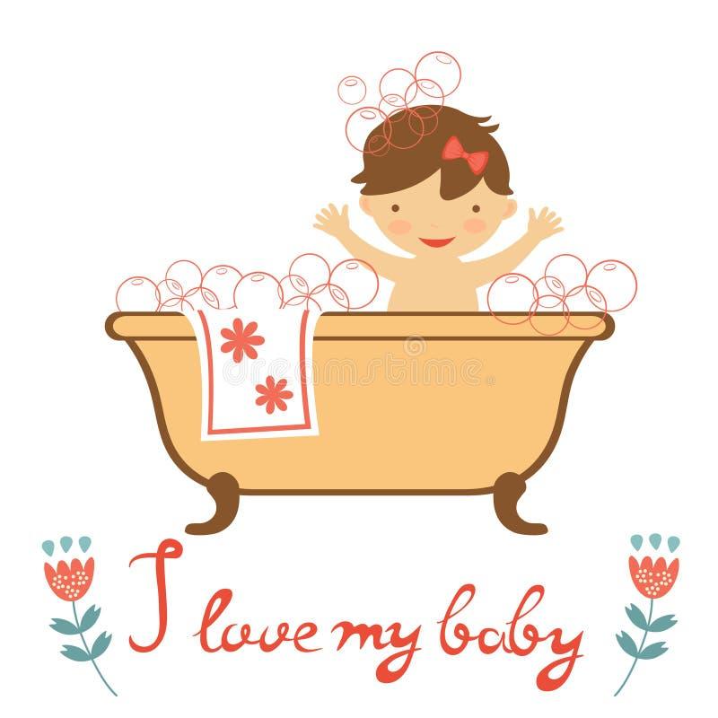Bébé mignon ayant un bain illustration libre de droits