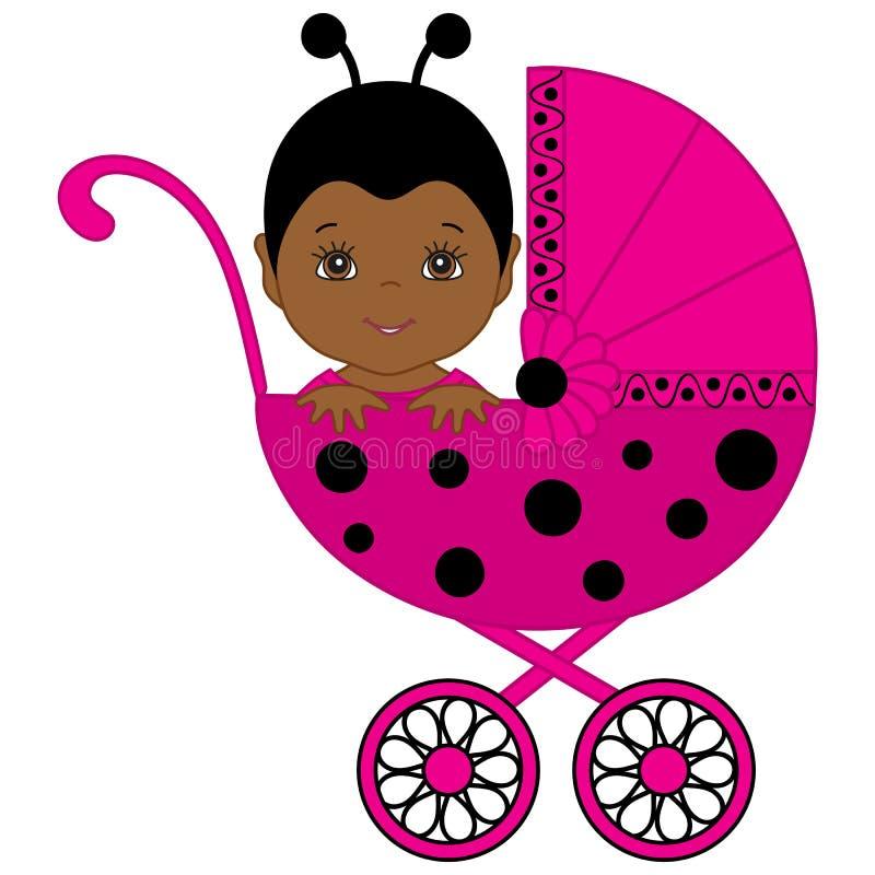 Bébé mignon d'Afro-américain de vecteur dans le costume de coccinelle se reposant dans la poussette illustration de vecteur
