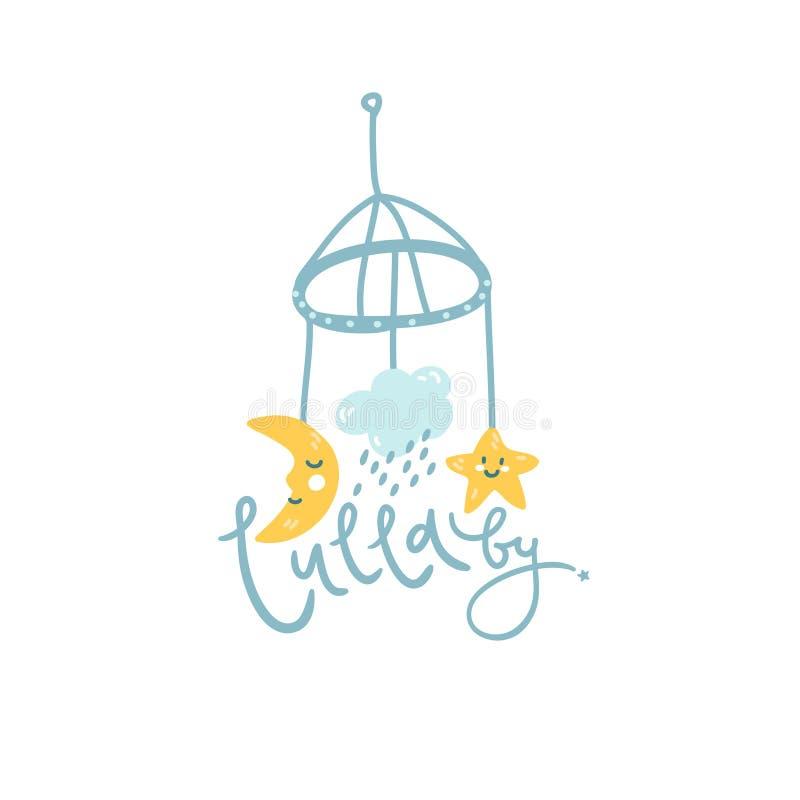 Bébé mobile, illustration mignonne pour le logo Lettrage de main de berceuse illustration libre de droits
