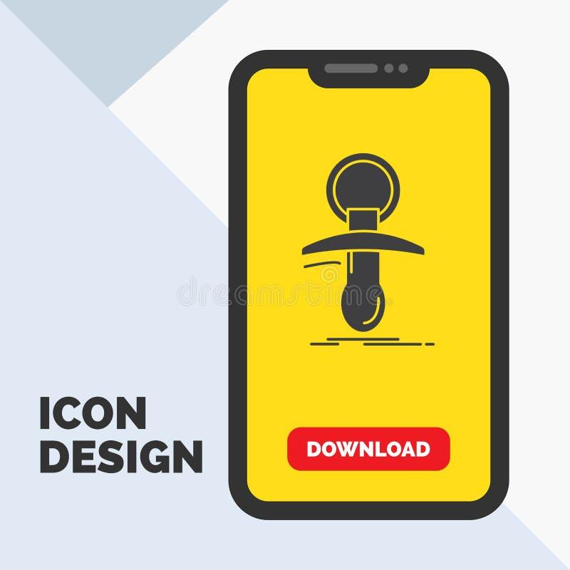 Bébé, muet, internaute novice, mamelon, icône de Glyph de noob dans le mobile pour la page de téléchargement Fond jaune illustration de vecteur