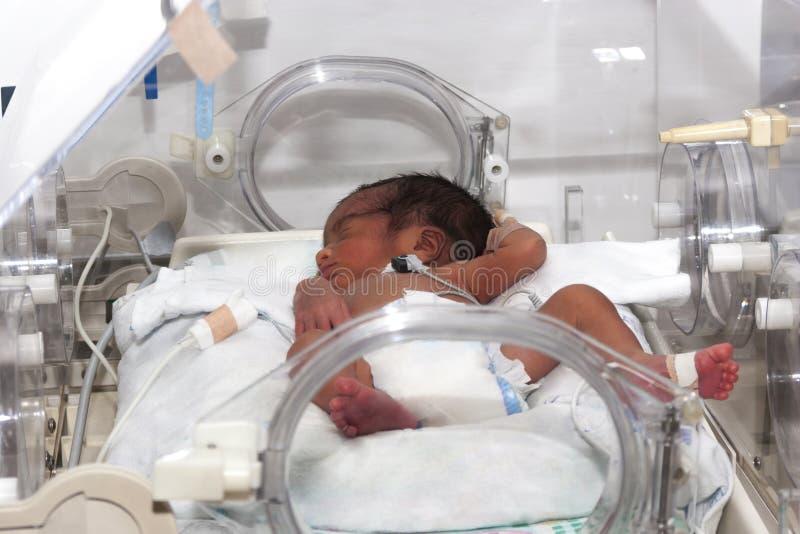 Bébé nouveau-né à l'intérieur d'incubateur photo stock