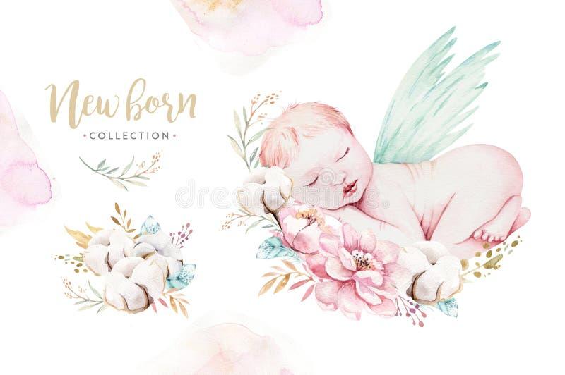 Bébé nouveau-né mignon d'aquarelle Peinture de fille et de garçon d'illustration d'enfant nouveau-né Peinture d'anniversaire d'is illustration libre de droits