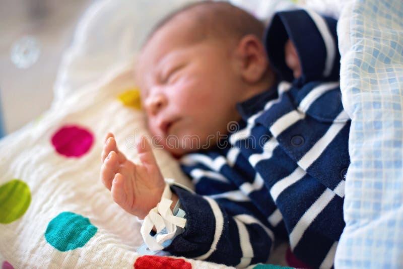 Bébé nouveau-né s'étendant dans la huche dans l'hôpital prénatal photographie stock libre de droits