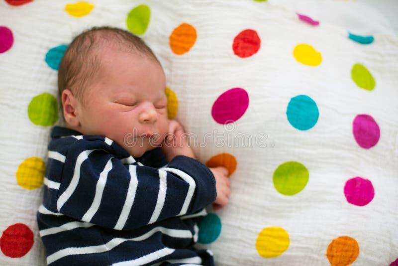 Bébé nouveau-né s'étendant dans la huche dans l'hôpital prénatal image libre de droits
