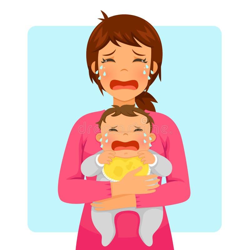 Bébé pleurant et maman pleurante illustration de vecteur