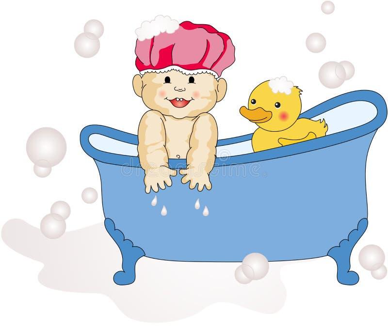 Bébé prenant Bath illustration de vecteur