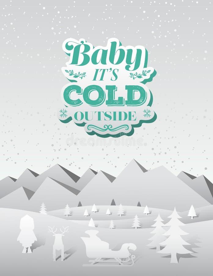 Bébé son vecteur extérieur froid de Noël illustration stock