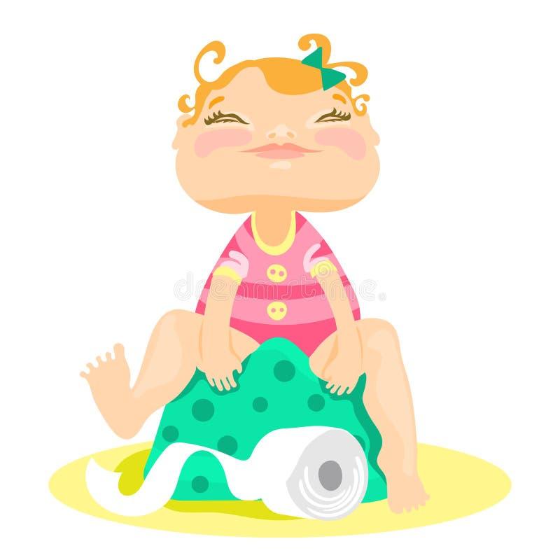 Bébé souri adorable et mignon s'asseyant sur un pot illustration libre de droits