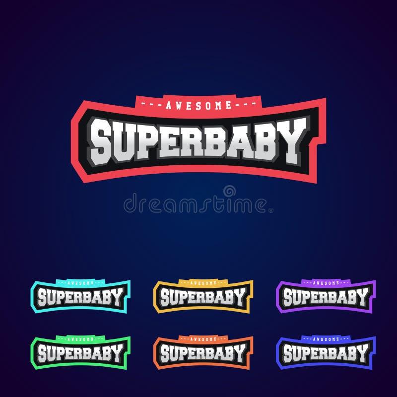Bébé superbe, typographie de puissance de superhéros pleine, graphiques de T-shirt, s Logo de style de sport illustration libre de droits
