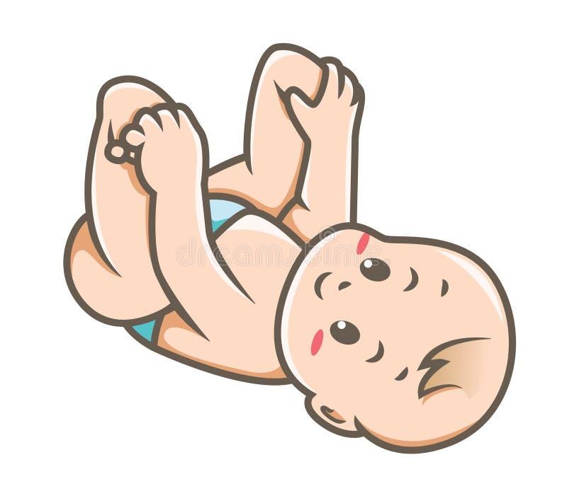 Bébé touchant l'illustration de vecteur de pieds illustration libre de droits