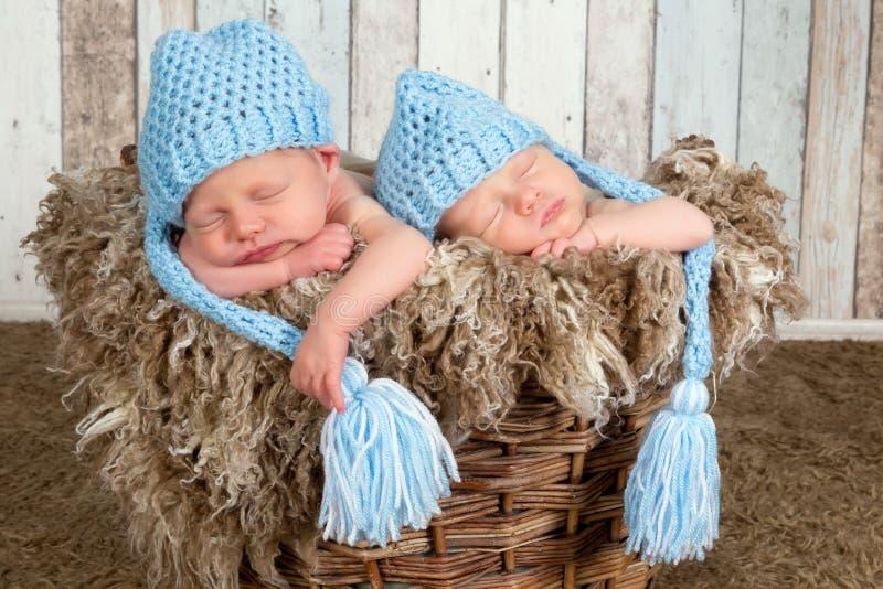 Bébés bleus de jumeau de chapeau photo libre de droits